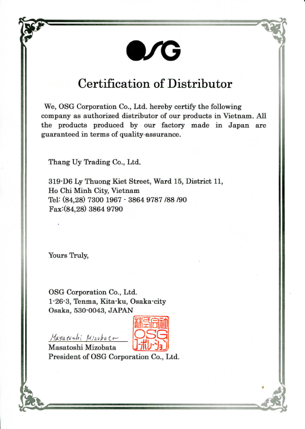 Certification Of Distributor Osg Final